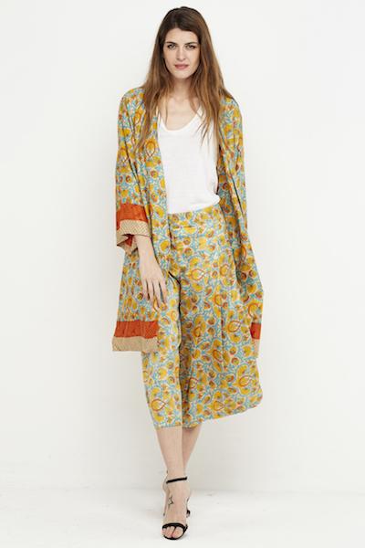 kimono boho corto reversible seda amarillo 1