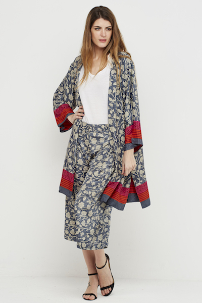 kimono boho corto seda reversible gris 3