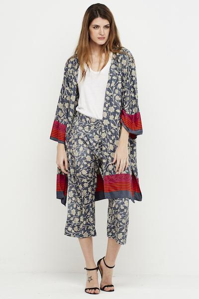 kimono boho seda reversible gris corto 2