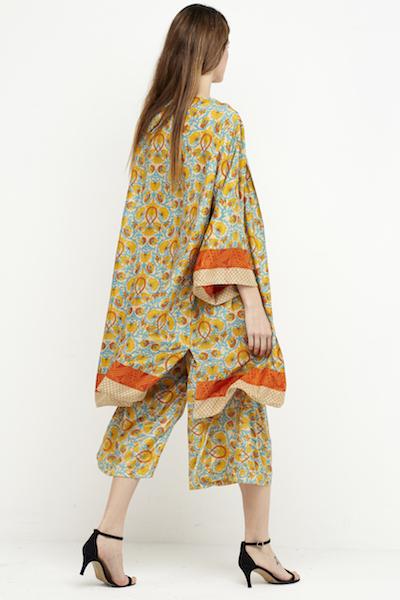 kimono corto reversible boho seda amarillo 4