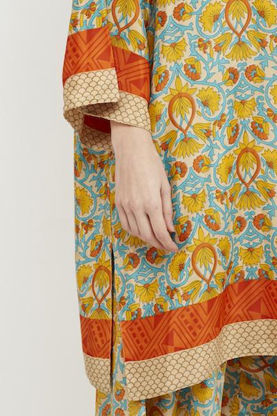 kimono corto reversible boho seda amarillo 5
