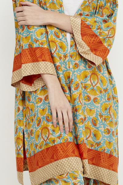 kimono corto reversible boho seda amarillo 6