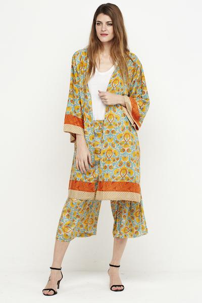 kimono corto reversible seda amarillo 3