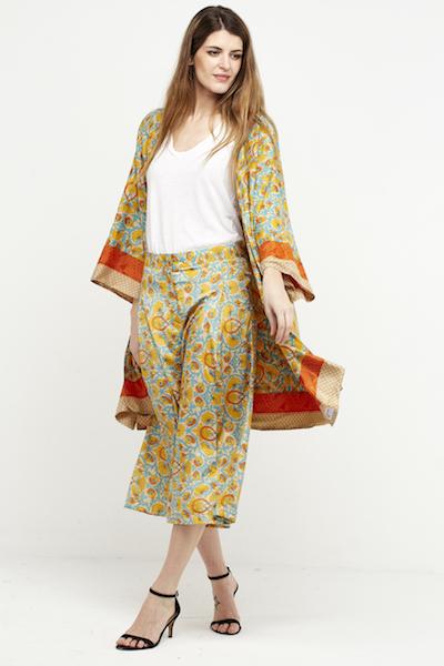 kimono reversible boho corto seda amarillo 2