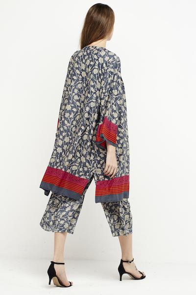 kimono seda boho corto reversible gris 4