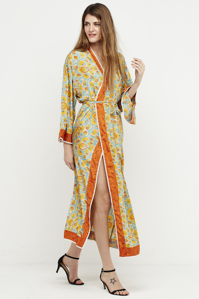 kimono seda boho puntilla largo amarillo 2