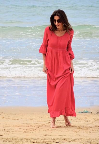 vestido boho chic puntilla coral