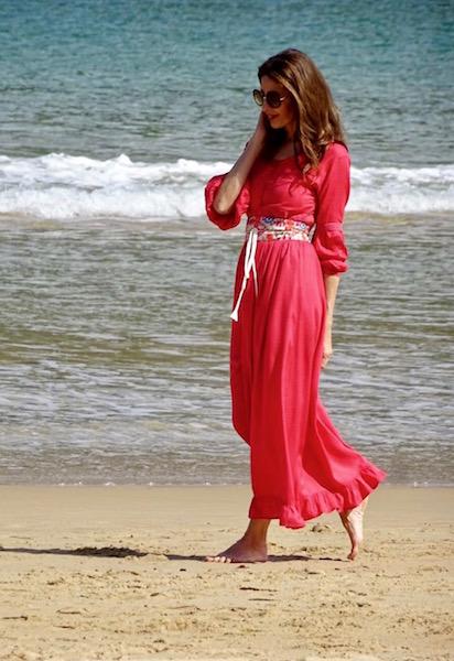 vestido boho cinturon coral (1)