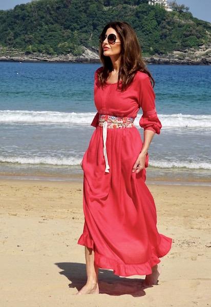 vestido boho cinturon coral