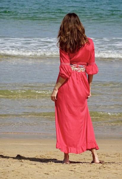 vestido boho coral cinturon puntilla