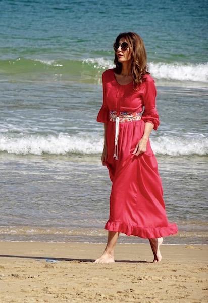 vestido boho coral cinturon