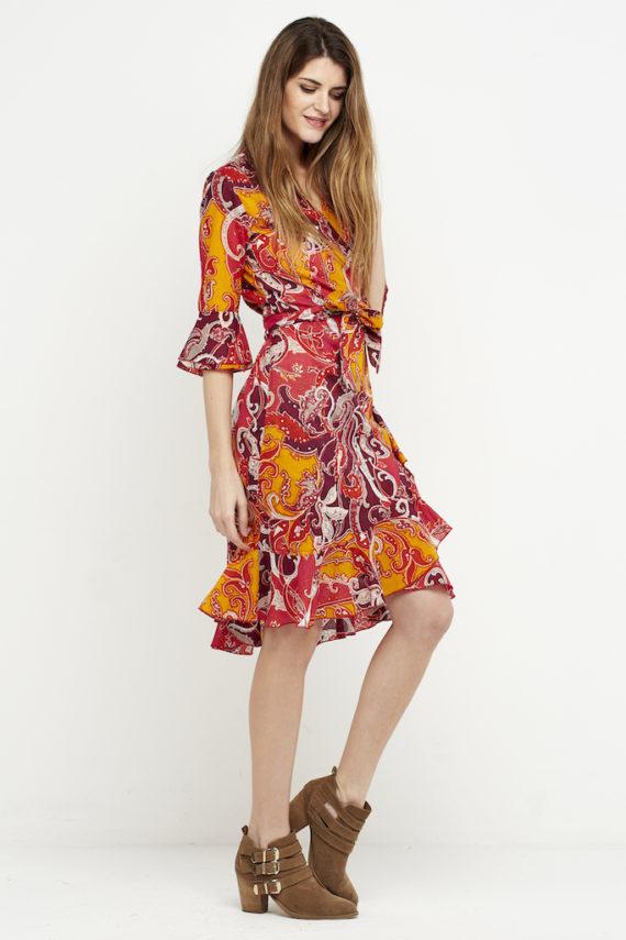 vestido boho cruzado naranja 3