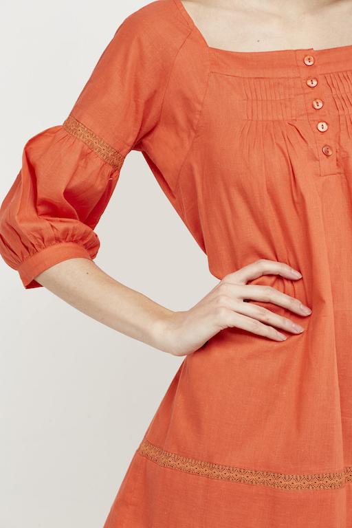vestido boho jaretitas coral corto