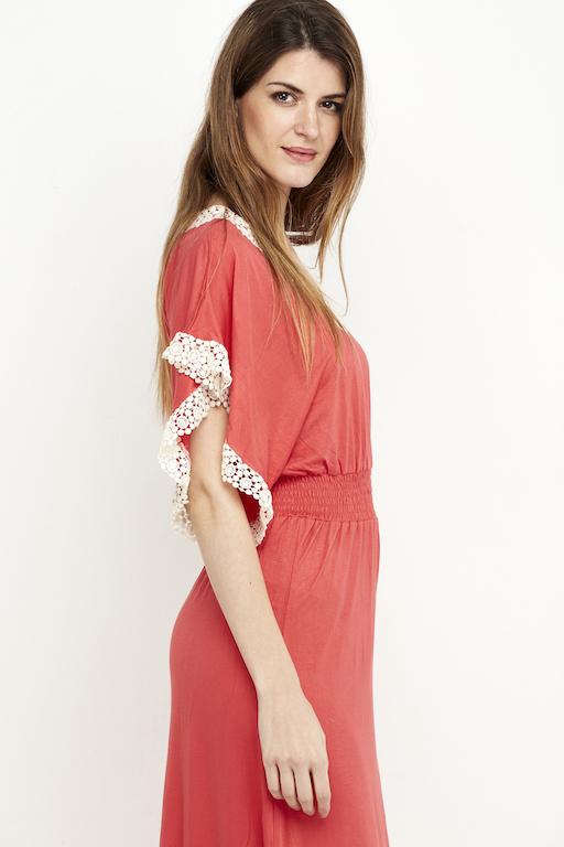 vestido boho puntilla coral 3