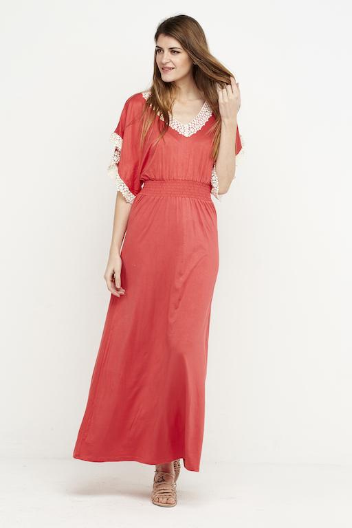 vestido boho puntilla elastico coral 2