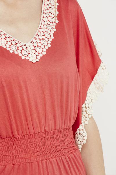 vestido boho puntilla elastico coral 5