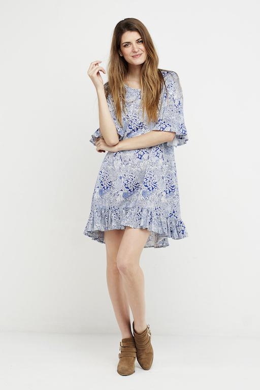 vestido corto boho azul