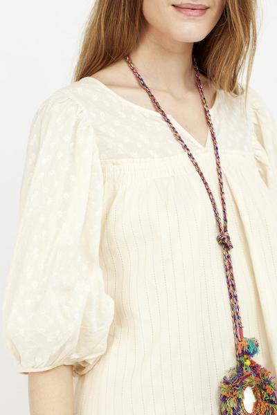 vestido corto boho cream cotton