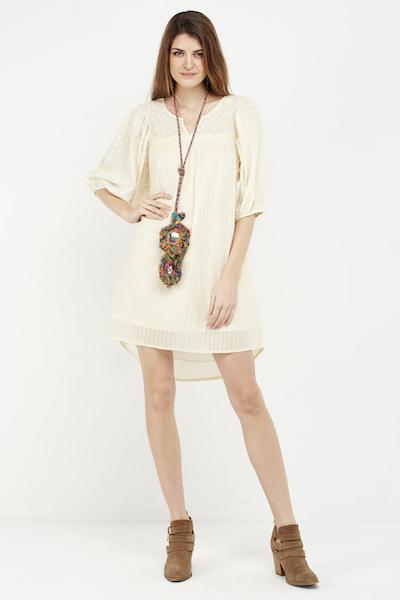 vestido corto boho cream detalle
