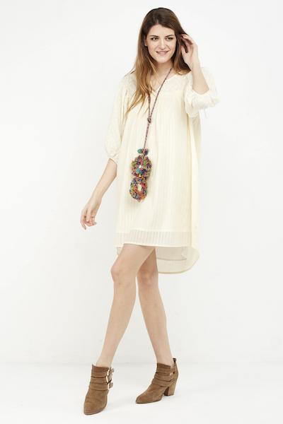 vestido corto boho cream manga