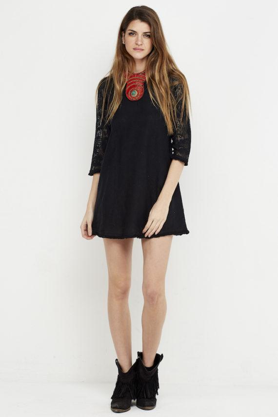 vestido corto boho croche negro 1