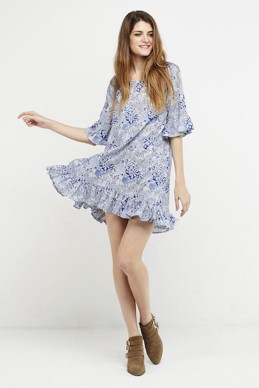 vestido corto boho volante azul
