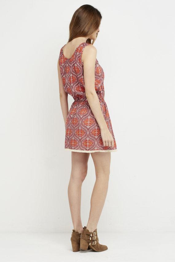 vestido corto coral ibia boho chic