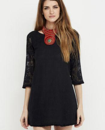 vestido corto negro croche 3