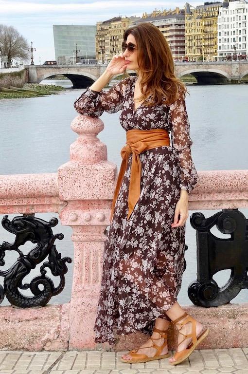 vestido gasa marron 3