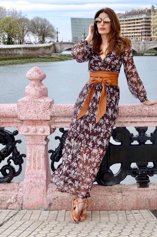 vestido gasa marron 5