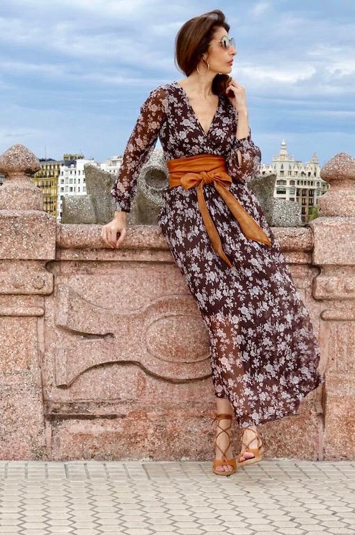 vestido gasa marron 6