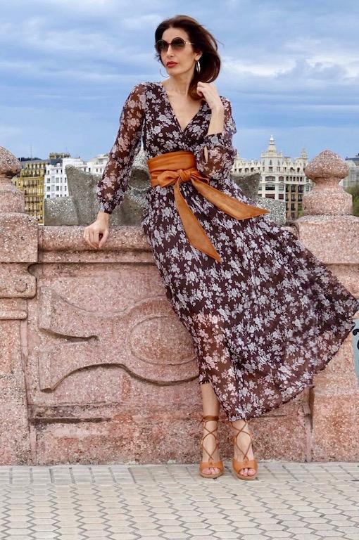 vestido largo boho gasa marrón