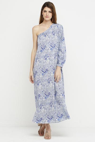 vestido largo boho azul hombro 1