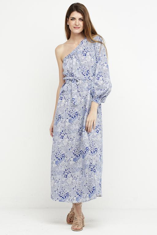 vestido largo boho azul hombro 5