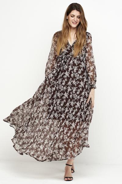 vestido largo boho gasa marron 1