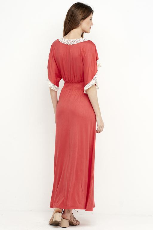 vestido largo coral puntilla elastico 4