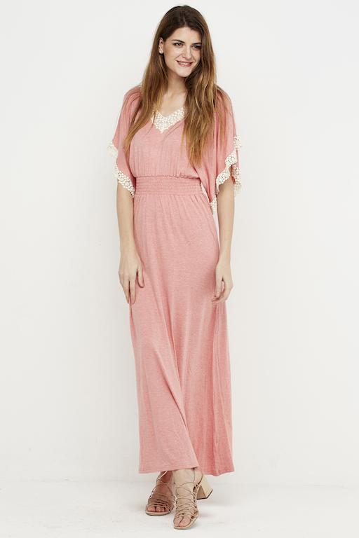 vestido largo puntilla boho rosa 1