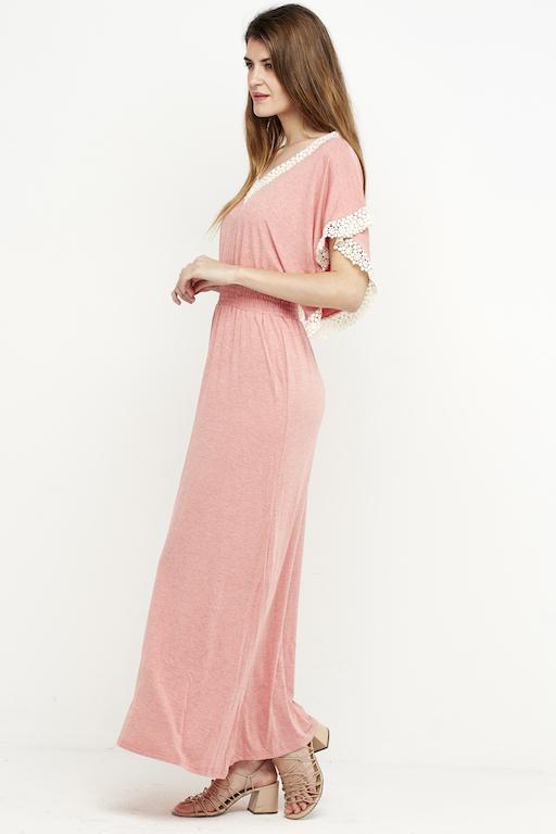 vestido largo puntilla boho rosa 3