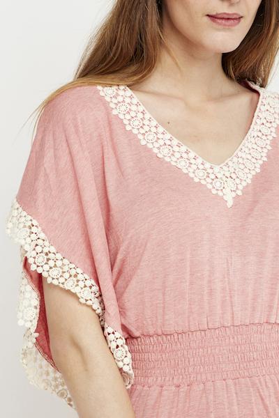 vestido largo puntilla boho rosa 7