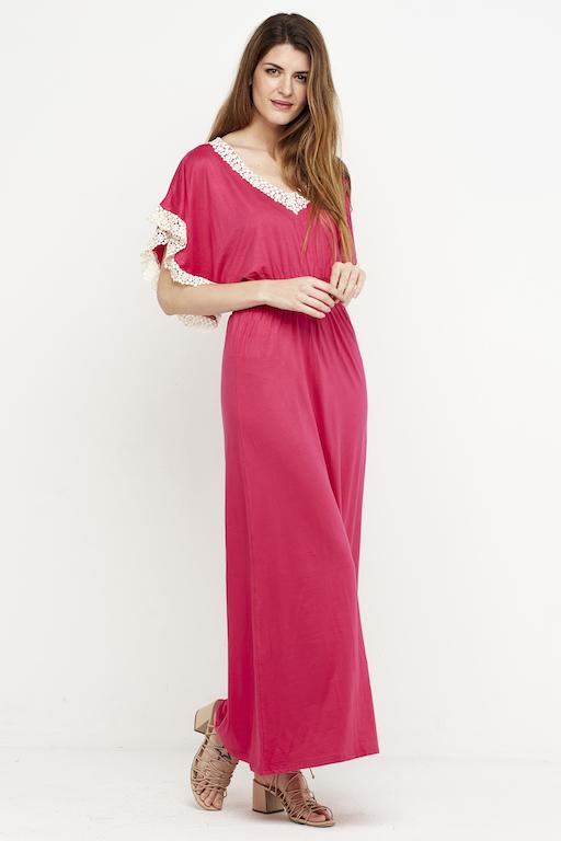 vestido largo puntilla fucsia 2