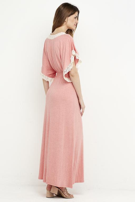 vestido largo puntilla rosa boho 6