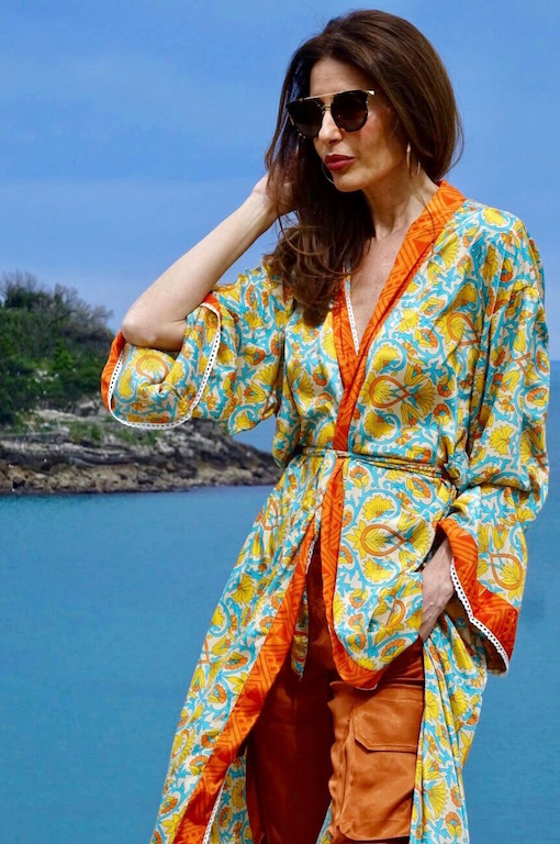 kimono largo boho naranja 3