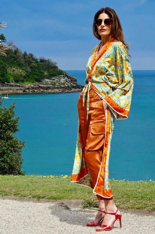 kimono largo naranja 4