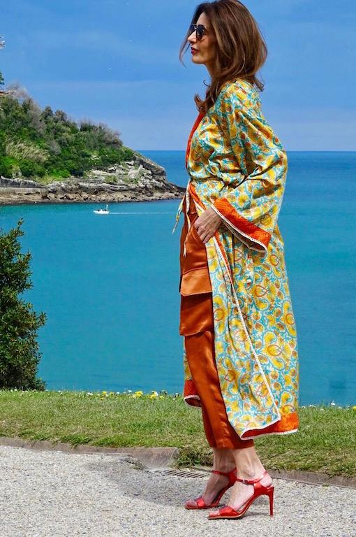 kimono largo naranja 7