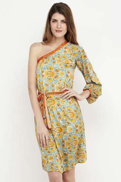 vestido boho corto amarillo hombro 3