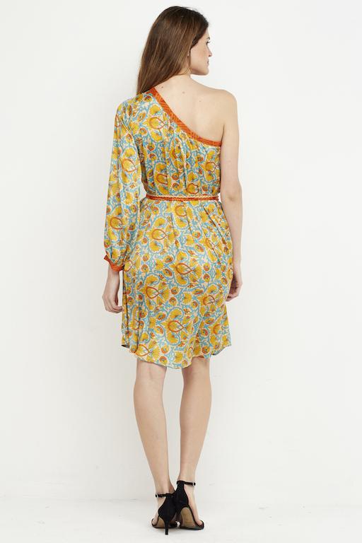vestido corto amarillo boho hombro 5