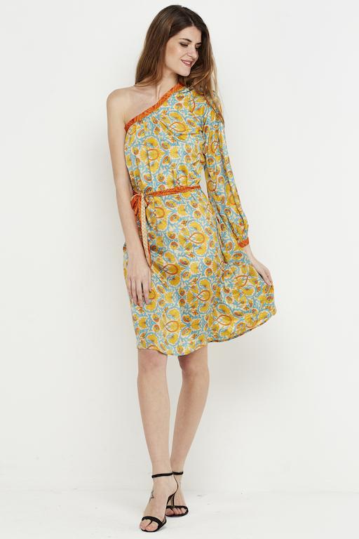 vestido corto boho amarillo hombro 4