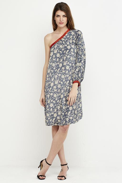 vestido corto boho hombro gris 1