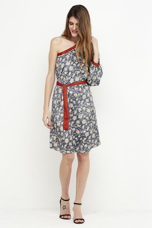 vestido corto boho hombro gris 4