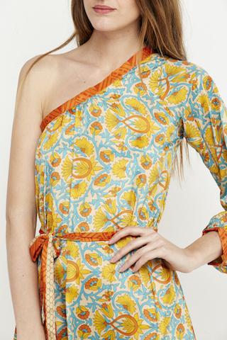 vestido corto hombro boho amarillo 6
